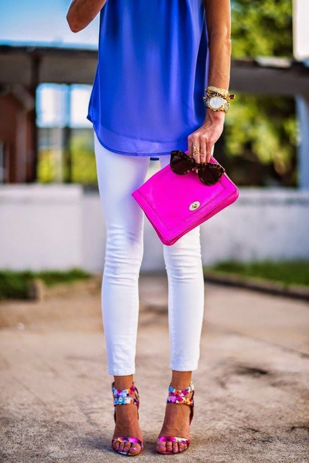 girl with white pants and blue shirt