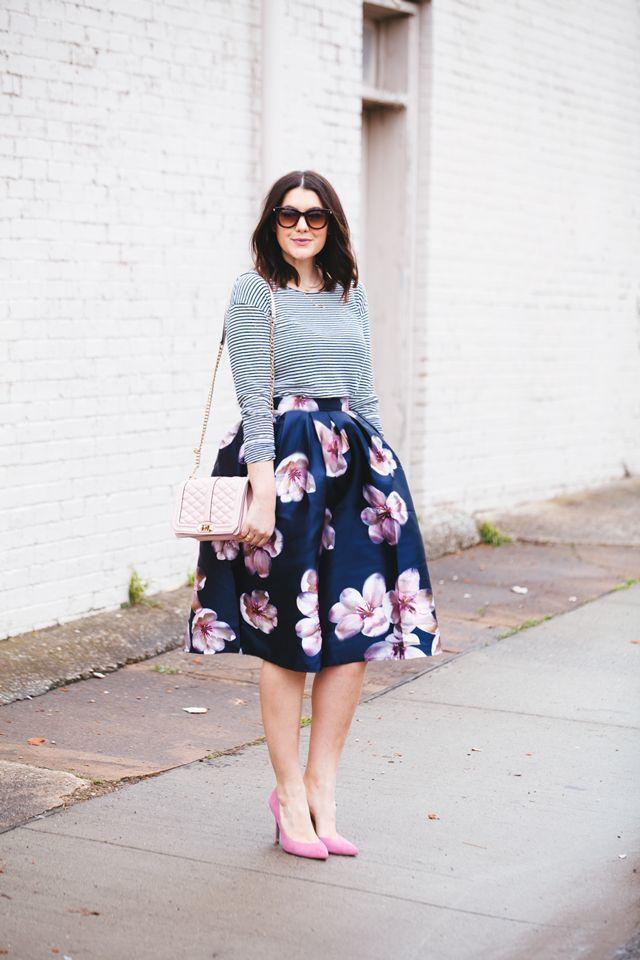 women with flower skirt