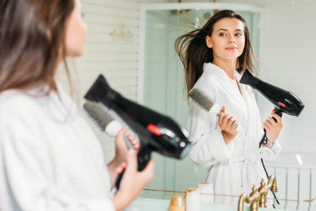 Mirror-Woman-Hair-Dryer-Brush-Bathroom